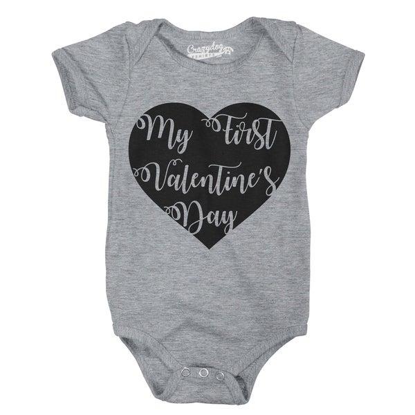 My First Valentines Day Cute Script Heart Valentine Baby Bodysuit Creeper in Grey