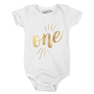 Baby One Year Old Gold Shimmer Cute Birthday Celebration Infant Creeper Bodysuit in White