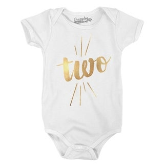 Baby Two Years Old Gold Shimmer Cute Birthday Celebration Infant Creeper Bodysuit in White