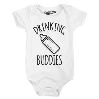 Drinking Buddies Funny Tee for Infants Cute Adorable Baby Creeper Bodysuit in White