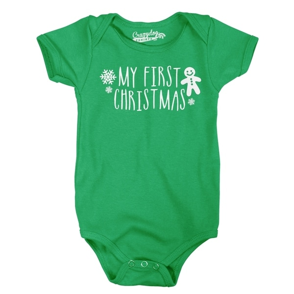 My First Christmas Baby Bodysuit Romper Cool Xmas Creeper for Babies in Black