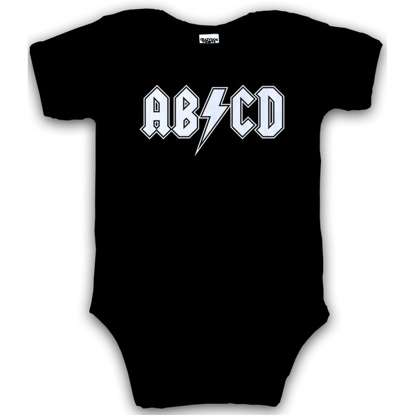 Baby ABCD Creeper Funny Metal Band Rock Logo Romper for Infants and Toddlers in Black