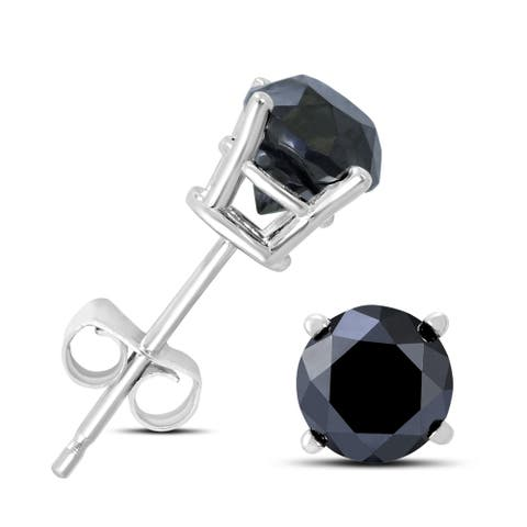 1 Carat TW Round Black Diamond Solitaire Stud Earrings in 10K White Gold