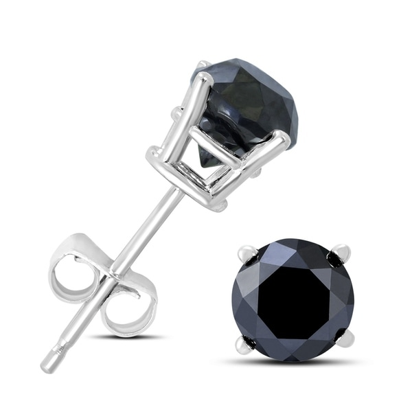 410f379e3 Shop 1 Carat TW Round Black Diamond Solitaire Stud Earrings in 10K White  Gold - On Sale - Free Shipping Today - Overstock - 22699119