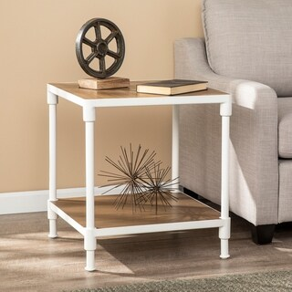 Lavra Industrial Square End Table w/ Storage Shelf