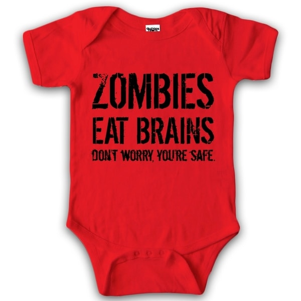 Baby Bodysuit Zombies Eat Brains Youre Safe Halloween Creeper for Infants in Red