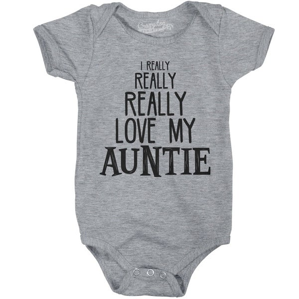 Baby Really Really Love My Auntie Cute Funny Infant Creeper Bodysuit in Grey