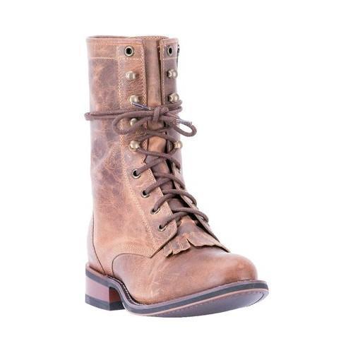 Women's Laredo Sara Rose Round Toe Combat Boot 52062 Tan Leather