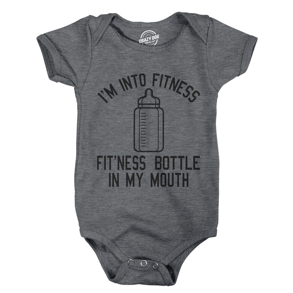 Creeper Im Into Fitness Fitness Bottle In My Mouth Funny Baby Bodysuit for Newborn