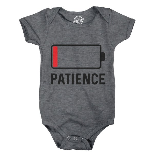 Creeper Patience Battery Funny Cellphone Charge Tech Bodysuit for Newborn Baby