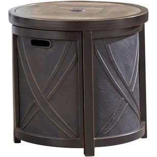 Hanover 25 In. Round Umbrella Side Table with Tile Tabletop