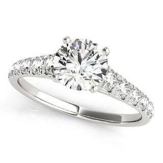 Auriya Classic 1ct Moissanite And Diamond Engagement Ring 1 3ctw 14K Gold
