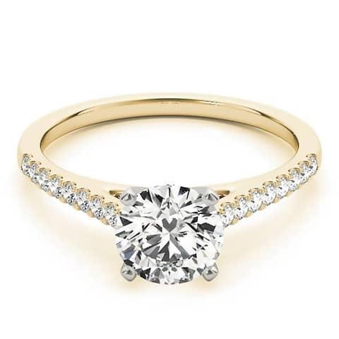 Auriya 14k Gold Classic 1/2ct Moissanite and Diamond Engagement Ring 1/6ctw