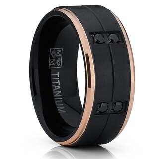 Oliveti Duo Black and RoseGold Titanium Wedding Band Ring Black Cubic Zirconia