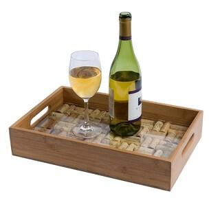 Bamboo Service Tray W/ Glass