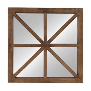 Kate and Laurel Mace Square Wood Wall Mirror, Rustic Brown - Antique Brown - 26x26