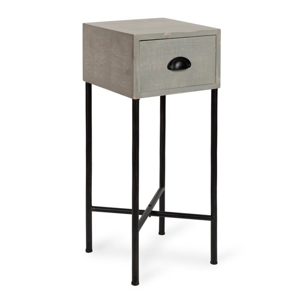 Kate and Laurel Decklyn Grey and Black Wood and Metal Rustic Side Table