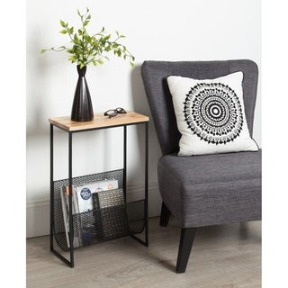Kate and Laurel Galen Black/Brown Metal/Wood End Table with Magazine Rack
