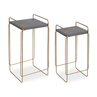 Kate and Laurel Strole Grey and Goldtone Wood and Metal 2-piece End Table Set