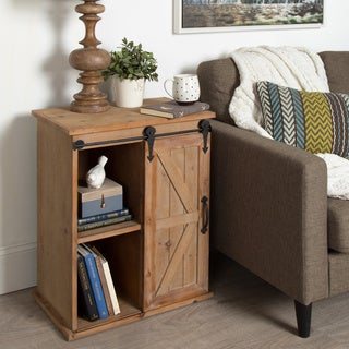 Kate and Laurel Cates Wood End Table with Sliding Barn Door