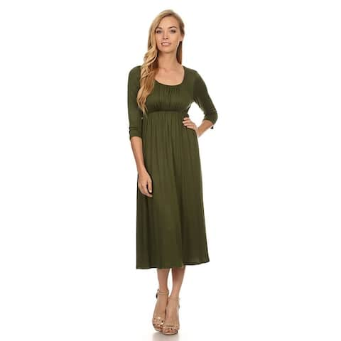 Women's Casual Cinched A-Line Midi Dress
