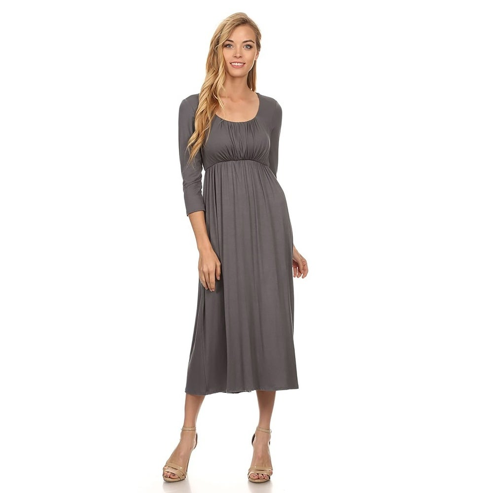 Womens Casual Cinched A-Line Midi Dress by  Today Only Sale