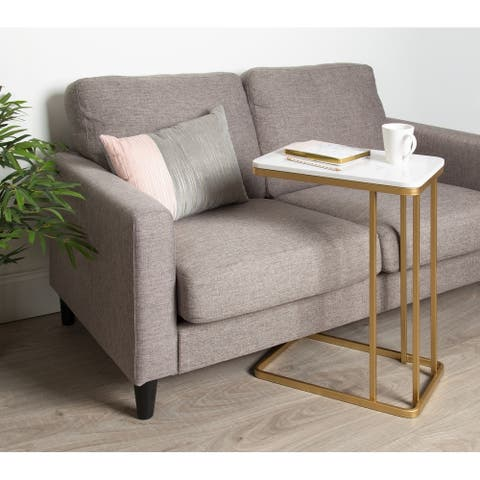 Kate and Laurel Credele Modern-Glam C-Table with Gold Metal Base