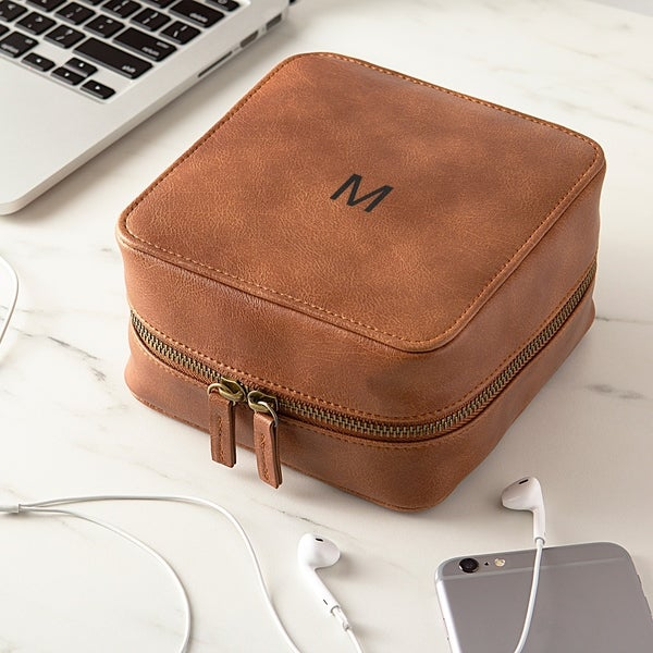 Personalized Brown Travel Tech Case. Opens flyout.