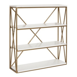 Kate and Laurel Ascencio 4-Layer Wood and Metal Wall Shelves