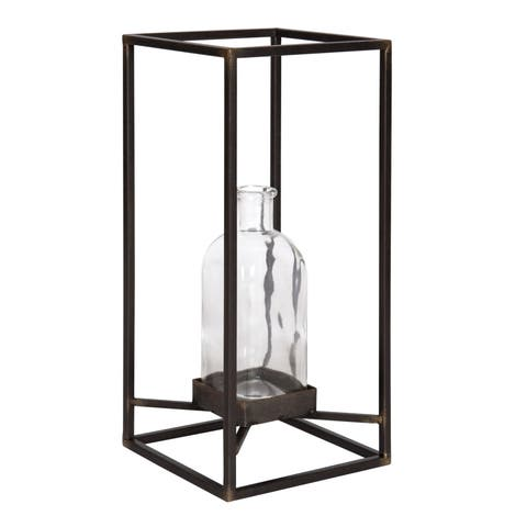 Kate and Laurel Britt Metal Stand with Glass Bottle Vase