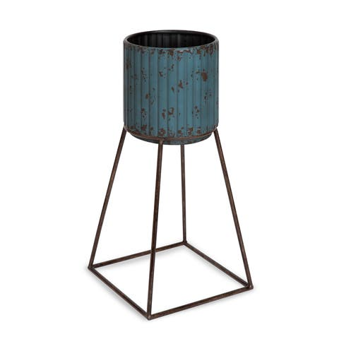 Kate and Laurel Holmes Rustic Blue Metal Planter with Stand