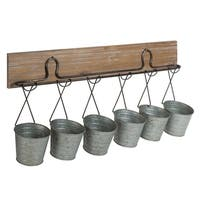 Kate and Laurel Pailey Rustic Farmhouse 6 Mini Bucket Wall Storage