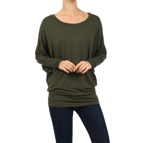 Olive Green Top Asymmetrical Top Waffle Knit Shirt Casual Shirts\u00a0For Women Loose Fitting Tops Long Sleeve Shirt