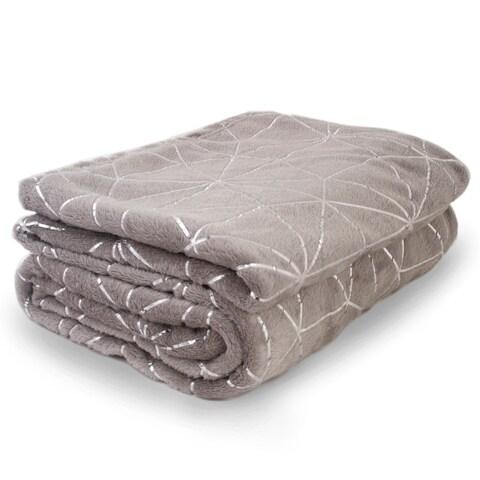 "Soft Warm Fleece Blanket W/ Silver Accents 52""X72"" Throw Blanket Gray"