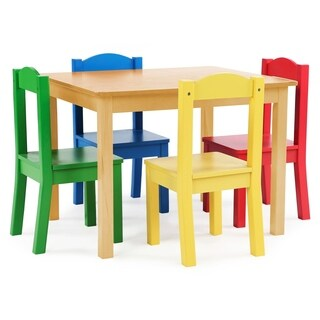 Tot Tutors Kids Wood Table & 4 Chairs, Natural Table & Primary Chairs