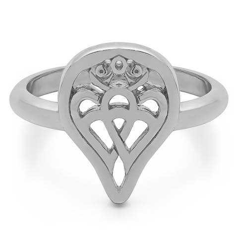 TwoBirch Celtic Double Heart Love Luckenbooth Ring in 14k Gold