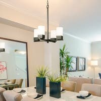 Eglo Ciara Springs Oil-rubbed Bronze-finished Steel 4-light Chandelier with Frosted White Glass Shades