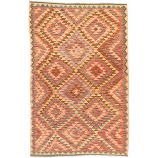 eCarpetGallery Flat-weave Anatolian FW Dark Burgundy, Light Gold Wool Kilim - 5'2 x 11'7