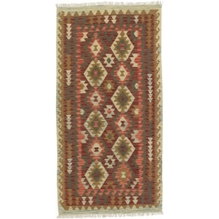 eCarpetGallery  Flat-weave Kashkoli FW Dark Burgundy Wool Kilim - 3'4 x 6'8