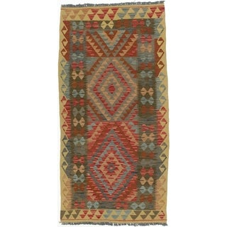eCarpetGallery  Flat-weave Kashkoli FW Dark Burgundy Wool Kilim - 3'5 x 6'10