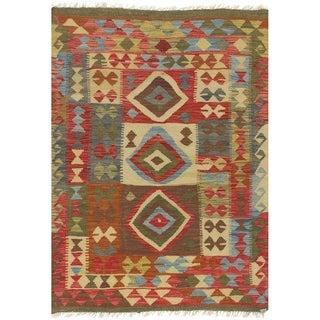 eCarpetGallery  Flat-weave Sivas Dark Red, Light Yellow Wool Kilim - 3'4 x 4'10