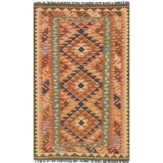 eCarpetGallery Flat-weave Kashkoli FW Dark Burgundy, Navy Blue Wool Kilim - 3'4 x 5'5