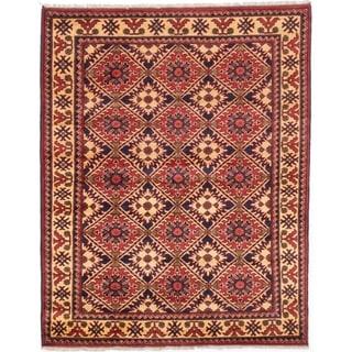 eCarpetGallery  Hand-knotted Finest Kargahi Dark Burgundy Wool Rug - 5'4 x 6'8