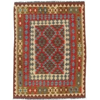 eCarpetGallery  Flat-weave Kashkoli FW Dark Burgundy, Light Yellow Wool Kilim - 4'9 x 6'5