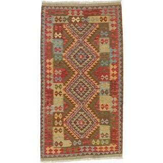 eCarpetGallery  Flat-weave Kashkoli FW Dark Burgundy, Light Orange Wool Kilim - 3'5 x 6'6