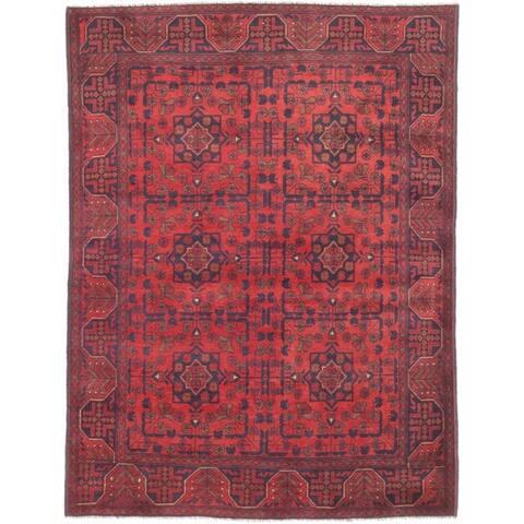 eCarpetGallery Hand-knotted Finest Khal Mohammadi Dark Burgundy Wool Rug
