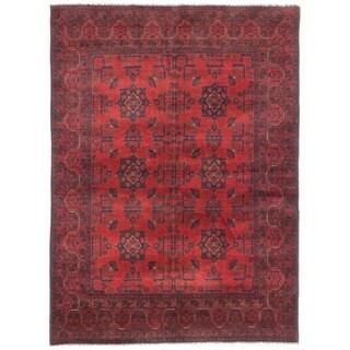 eCarpetGallery  Hand-knotted Finest Khal Mohammadi Dark Burgundy Wool Rug - 4'11 x 6'8