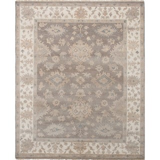 eCarpetGallery  Hand-knotted Royal Ushak Dark Grey Wool Rug - 8'2 x 9'10
