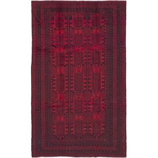 eCarpetGallery Hand-knotted Royal Baluch Dark Burgundy Wool Rug - 7'0 x 12'0