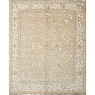 eCarpetGallery Hand-knotted Royal Ushak Light Khaki Wool Rug - 9'2 x 12'0